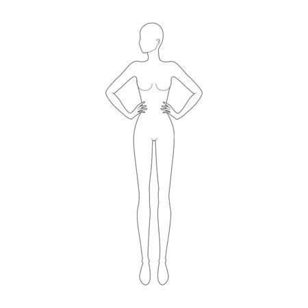 Fashion template 9 head for technical drawing. Womans figure front view with head looking left. Vector outline girl model template for fashion sketching for fashion illustration.