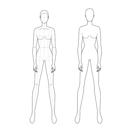 Fashion template of standing wide legs women with and without main lines. 9 head size for technical drawing. Lady figure front view. Vector outline girl for fashion sketching and illustration.