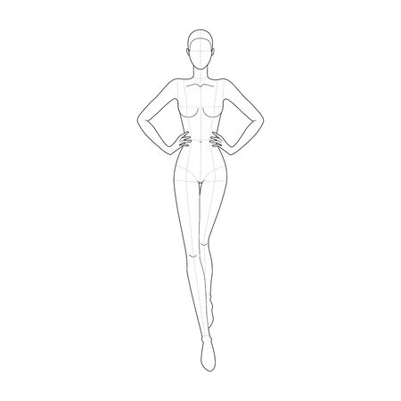 Fashion template 9 head for technical drawing with main lines. Woman figure with hands on waist front view. Vector outline girl model template for sketching and fashion illustration. Ilustración de vector