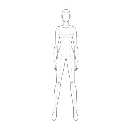 Fashion template of standing wide legs women with main lines. 9 head size for technical drawing. Lady figure front view. Vector outline girl for fashion sketching and illustration.