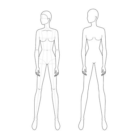 Fashion template of standing wide legs women looking left with and no main lines. 9 head size for technical drawing. Lady figure front view. Vector outline girl for fashion sketching and illustration.