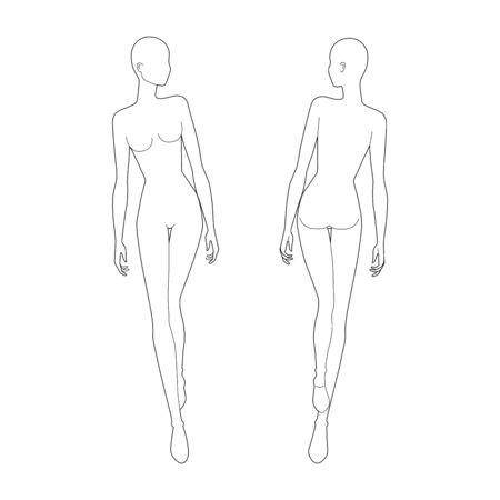 Fashion template 9 head for technical drawing. Woman figure walking and looking right front and back view. Vector outline girl model template for sketching and fashion illustration. Stock Illustratie
