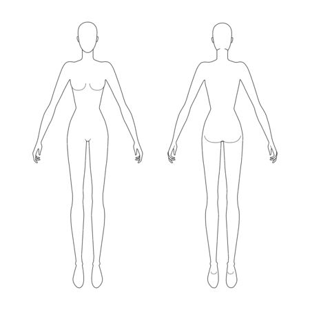 Fashion template of standing women with wide open hands. 9 head size for technical drawing. Lady figure front and back view. Vector outline girl for fashion sketching and illustration.