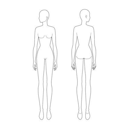Fashion template of standing women looking left. 9 head size for technical drawing. Lady figure front and back view. Vector outline girl for fashion sketching and illustration. Vector Illustratie