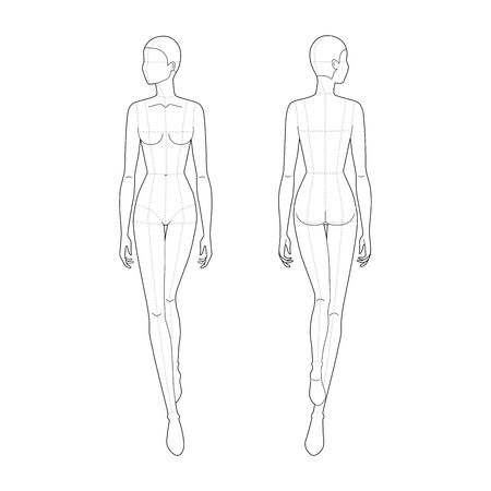 Fashion template of walking women. 9 head size for technical drawing with main lines. Lady figure front and back view. Vector outline girl for fashion sketching and illustration.