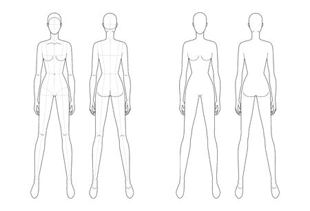 Fashion template of standing women. 9 head size for technical drawing with and without main lines. Lady figure front and back view. Vector outline girl for fashion sketching and illustration.