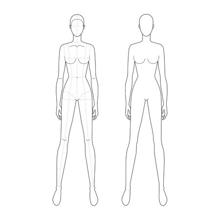 Fashion template of standing women with wide legs and main lines and without it. 9 head size for technical drawing. Lady figure front view. Vector outline girl for fashion sketching and illustration.