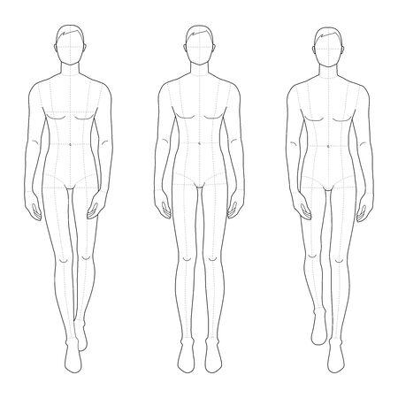 Modèle de mode des hommes dans des poses différentes. 9 tailles de tête pour le dessin technique avec des lignes principales. Messieurs figure vue de face. Garçon de contour vectoriel pour le dessin et l'illustration de la mode.