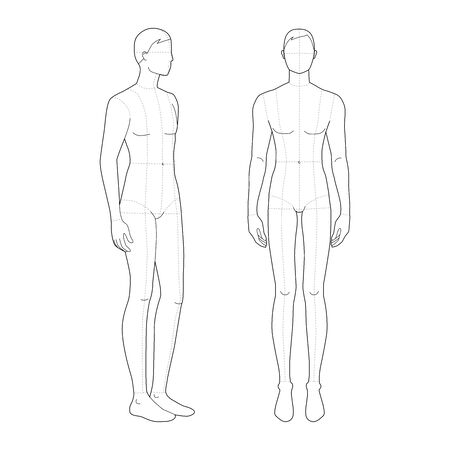 Fashion template of standing men. 9 head size for technical drawing with main lines. Gentlemen figure front and 3-4 view. Vector outline boy for fashion sketching and illustration.
