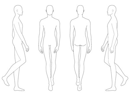 Fashion template of walking men in different point of view. 9 head size for technical drawing. Gentlemen figure front, side and back view. Vector outline boy for fashion sketching and illustration.