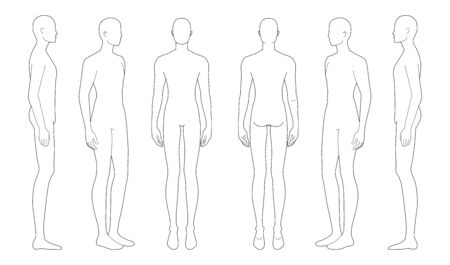 Fashion template of standing men in different point of view. 9 head size for technical drawing. Gentlemen figure front, side, 3-4 and back view. Vector outline boy for fashion sketching and illustration.