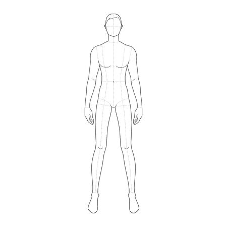 Fashion template of standing men with wide legs. 9 head size for technical drawing with main lines. Gentlemen figure front view. Vector outline boy for fashion sketching and illustration.