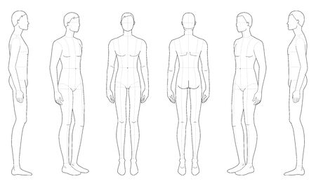 Fashion template of standing men. 9 head size for technical drawing with main lines. Gentlemen figure front, side, 3-4 and back view. Vector outline boy for fashion sketching and illustration.