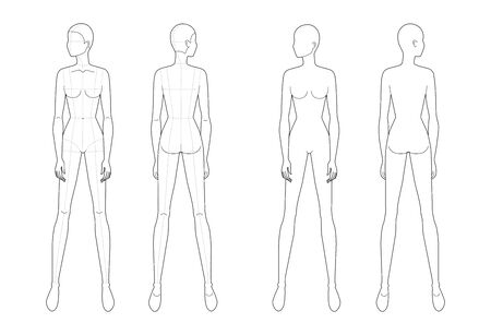 Fashion template of standing women looking left. 9 head size for technical drawing with and no main lines. Lady figure front and back view. Vector outline girl for fashion sketching and illustration.