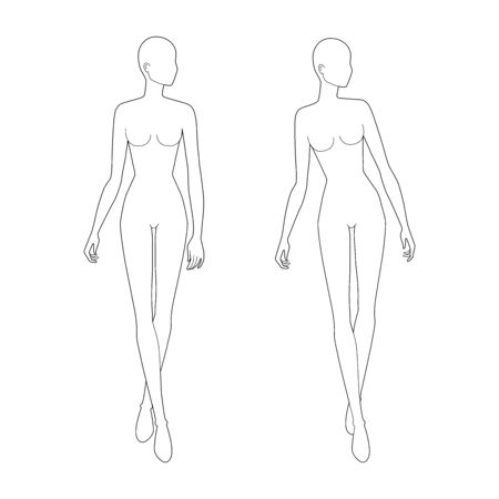 Fashion template of walking women looking right. 9 head size for technical drawing. Lady figure front view. Vector outline girl for fashion sketching and illustration.