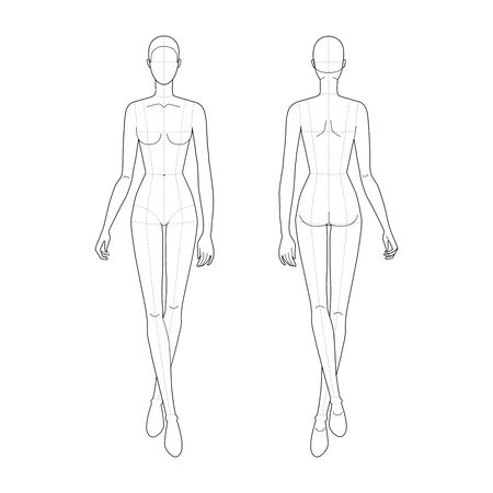 Fashion template of walking women. 9 head size for technical drawing with main lines. Lady figure front and back view. Vector outline girl for fashion sketching and illustration. Ilustração Vetorial