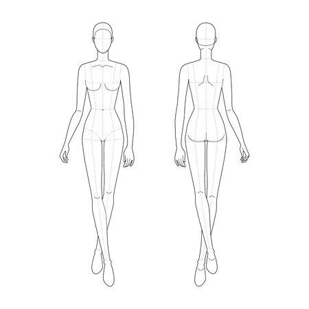 Modèle de mode de marche des femmes. 9 tailles de tête pour le dessin technique avec des lignes principales. Vue avant et arrière de la figure de la dame. Fille de contour de vecteur pour le dessin de mode et l'illustration. Vecteurs