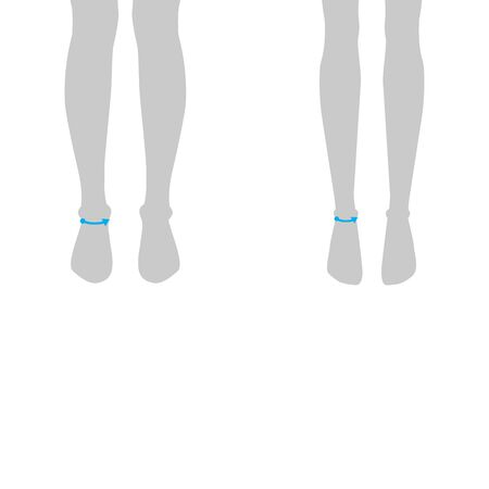 Women and men to do ankle measurement fashion Illustration for size chart. 7.5 head size girl and boy for site or online shop. Human body infographic template for clothes. Illustration