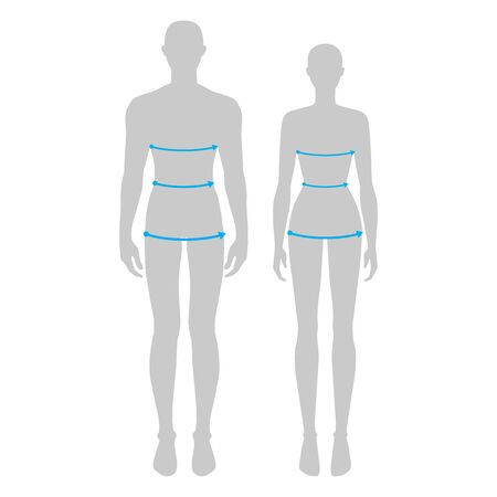Women and men to do body measurement fashion Illustration for size chart. 7.5 head size girl and boy for site or online shop. Human body infographic template for clothes.