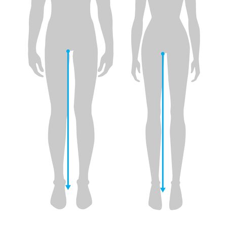 Women and men to do legs length measurement fashion Illustration for size chart. 7.5 head size girl and boy for site or online shop. Human body infographic template for clothes.