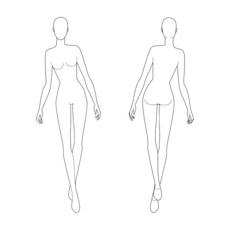 Fashion template of walking women. 9 head size for technical drawing. Lady figure front and back view. Vector outline girl for fashion sketching and illustration.