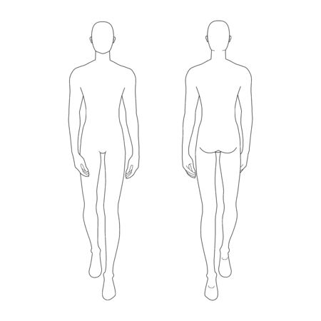 Fashion template of walking men. 9 head size for technical drawing. Gentlemen figure front and back view. Vector outline boy for fashion sketching and illustration. Vecteurs