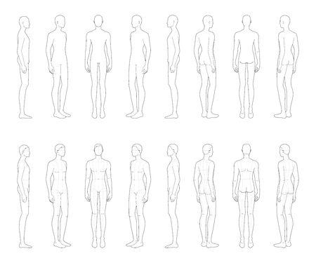 Fashion template of 16 standing men. 9 head size for technical drawing with and without main lines. Gentlemen figure front, side, 3-4 and back view. Vector boy for fashion sketching and illustration.