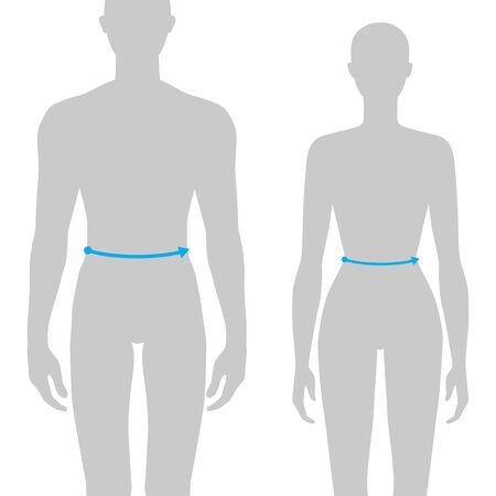 Mujeres y hombres para hacer la ilustración de moda de medición de cintura para tabla de tallas. 7.5 tamaño de la cabeza de niña y niño para sitio o tienda en línea. Plantilla de infografía de cuerpo humano para ropa. Ilustración de vector