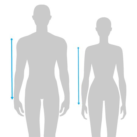 Women and men to do sleeve length measurement fashion Illustration for size chart. 7.5 head size girl and boy for site or online shop. Human body infographic template for clothes.