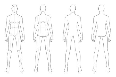 Modevorlage von stehenden Männern. 9 Kopfgröße für technisches Zeichnen mit und ohne Hauptlinien. Herrenfigur Vorder- und Rückansicht. Vektorentwurfsjunge für das Skizzieren und die Illustration der Mode.