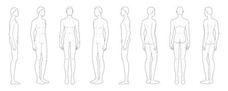 Fashion template of standing men in 8 point of view. 9 head size for technical drawing with main lines. Gentlemen figure front, side, 3-4 and back. Vector boy for fashion sketching and illustration.