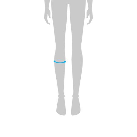 Women to do calf measurement fashion Illustration for size chart. 7.5 head size girl for site or online shop. Human body infographic template for clothes.