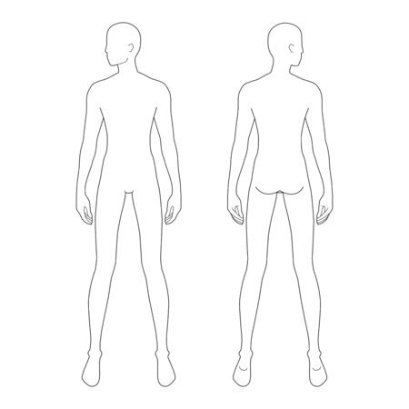 Fashion template of standing men. 9 head size for technical drawing with and without main lines. Gentlemen figure front and back view. Vector outline boy for fashion sketching and illustration.
