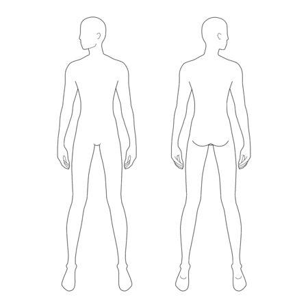 Plantilla de moda de hombres de pie. Tamaño de 9 cabezas para dibujo técnico con y sin líneas principales. Caballeros figura vista frontal y posterior. Chico de contorno vectorial para bocetos e ilustraciones de moda.