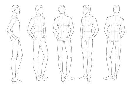 Fashion template of relaxing stand men. 9 head size for technical drawing with main lines. Gentlemen figure front, side, 3-4 and back view. Vector outline boy for fashion sketching and illustration.