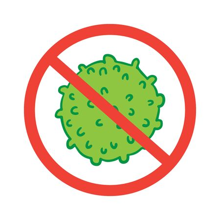 Sign caution coronavirus 2019-nC0V Outbreak. Stop pandemic COVID-19 microbe. The virus attacks the respiratory tract, infections medical health risk. Travel Alert concept. Flat simple cartoon style