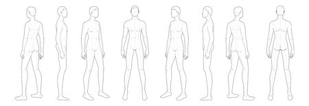Fashion template of standing men. 9 head size for technical drawing with main lines. Gentlemen figure front, side, 3-4 and back view. Vector outline boy for fashion sketching and illustration. Ilustración de vector