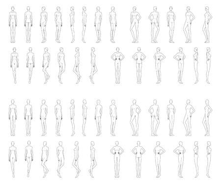 Fashion template of 25 women in different poses with and no main lines. 9 head size for technical drawing. Lady figure front, side, 3-4 and back view. Vector girls for fashion illustration. Ilustracje wektorowe