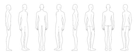 Fashion template of standing men in 8 point of view. 9 head size for technical drawing. Gentlemen figure front, side, 3-4 and back. Vector outline boy for fashion sketching and illustration.