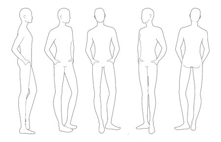 Fashion template of relaxing stand men. 9 head size for technical drawing. Gentlemen figure front, side, 3-4 and back view. Vector outline boy for fashion sketching and illustration.