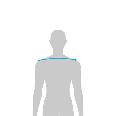 Men to do shoulder width measurement fashion Illustration for size chart. 7.5 head size boy for site or online shop. Human body infographic template for clothes.