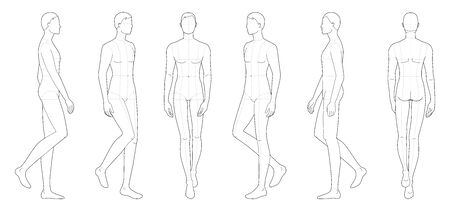 Fashion template of walking men. 9 head size for technical drawing with main lines. Gentlemen figure front, side, 3-4 and back view. Vector outline boy for fashion sketching and illustration.