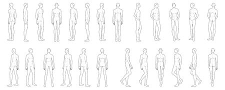 Fashion template of 25 men. 9 head size for technical drawing with main lines. Gentlemen figure front, side, 3-4 and back view. Vector outline boy for fashion sketching and illustration. Ilustración de vector