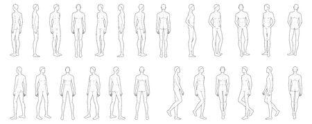 Modèle de mode de 25 hommes. Taille de tête 9 pour le dessin technique avec des lignes principales. Messieurs figure avant, côté, 3-4 et vue arrière. Garçon de contour vectoriel pour le dessin et l'illustration de la mode. Vecteurs