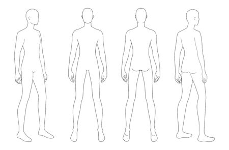 Fashion template of standing men. 9 head size for technical drawing. Gentlemen figure front, 3-4 and back view. Vector outline boy for fashion sketching and illustration. Ilustración de vector