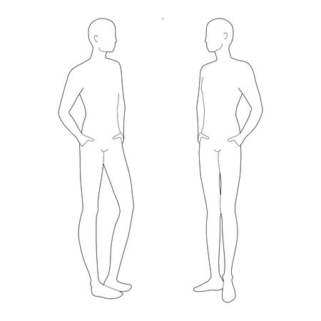 Fashion template of relaxing stand men. 9 head size for technical drawing. Gentlemen figure 3-4 view. Vector outline boy for fashion sketching and illustration.