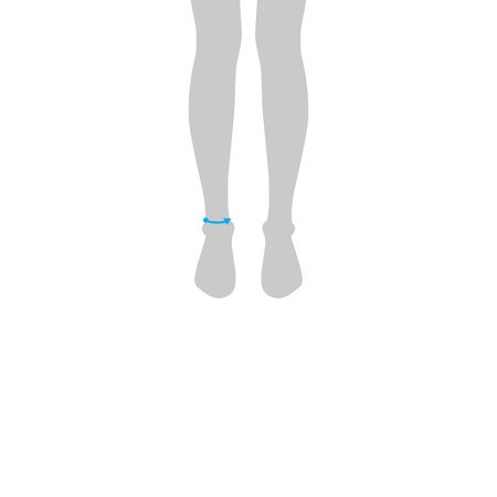 Men to do high ankle measurement fashion Illustration for size chart. 7.5 head size boy for site or online shop. Human body infographic template for clothes.