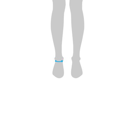 Men to do ankle measurement fashion Illustration for size chart. 7.5 head size boy for site or online shop. Human body infographic template for clothes. Illustration