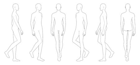 Fashion template of walking men in 6 point of view. 9 head size for technical drawing. Gentlemen figure front, side, 3-4 and back view. Vector outline boy for fashion sketching and illustration. Vectores