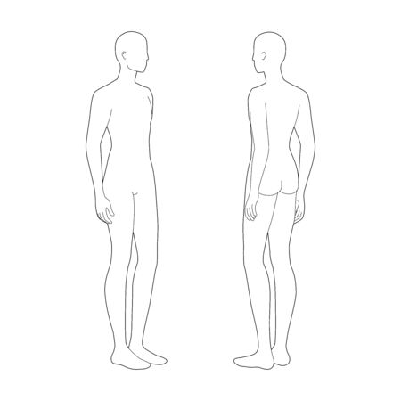 Fashion template of two standing men. 9 head size for technical drawing. Gentlemen figure 3-4 front and back view. Vector outline boy for fashion sketching and illustration.